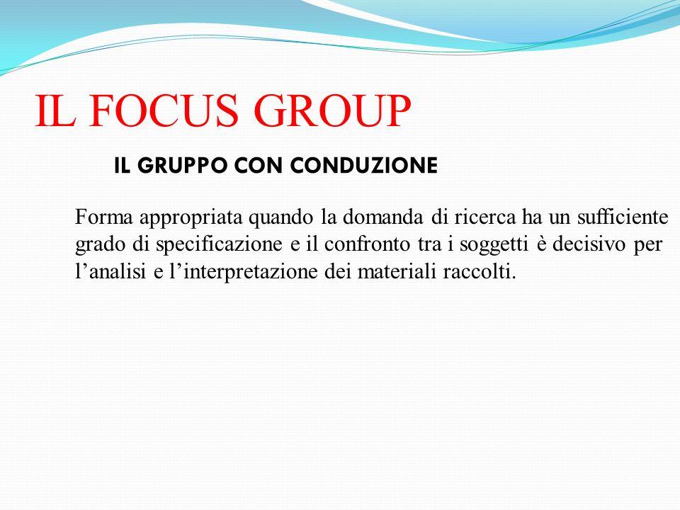 IL FOCUS GROUP IL GRUPPO CON CONDUZIONE Forma appropriata quando la domanda di ricerca ha un sufficiente grado di specificazione e il confronto tra i