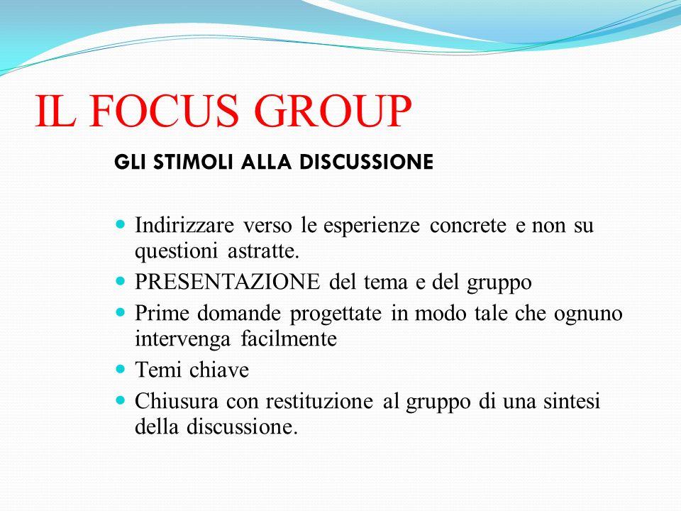 IL FOCUS GROUP GLI STIMOLI ALLA DISCUSSIONE Indirizzare verso le esperienze concrete e non su questioni astratte. PRESENTAZIONE del tema e del gruppo