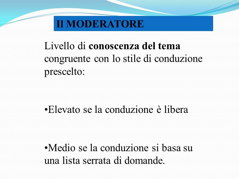 Il MODERATORE Livello di conoscenza del tema congruente con lo stile di conduzione prescelto: Elevato se la conduzione è libera Medio se la conduzione