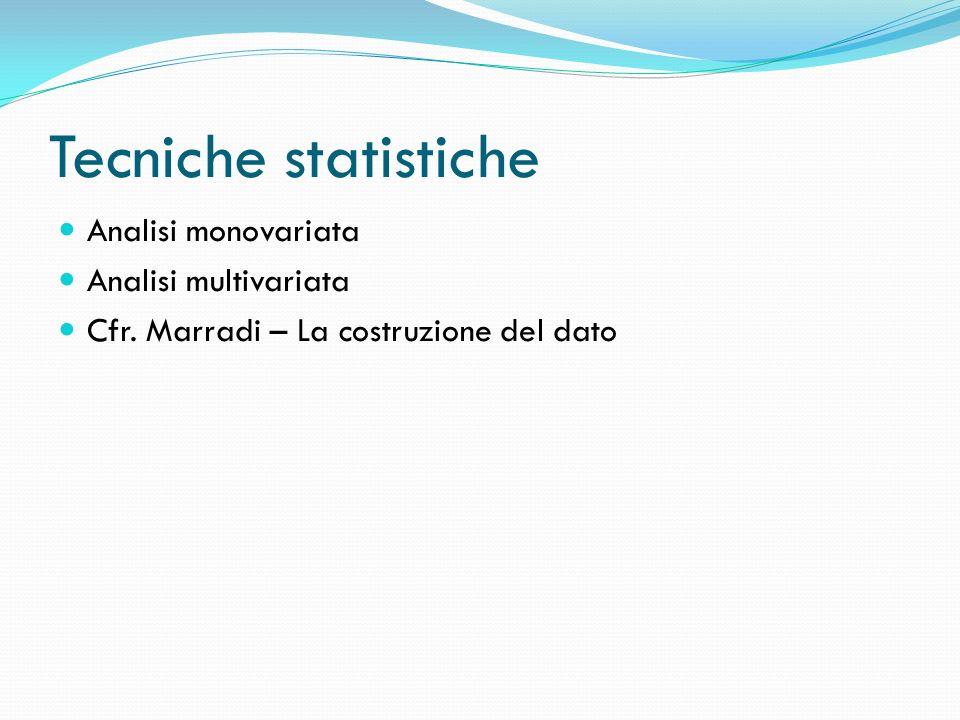 Tecniche statistiche Analisi monovariata Analisi multivariata Cfr. Marradi – La costruzione del dato