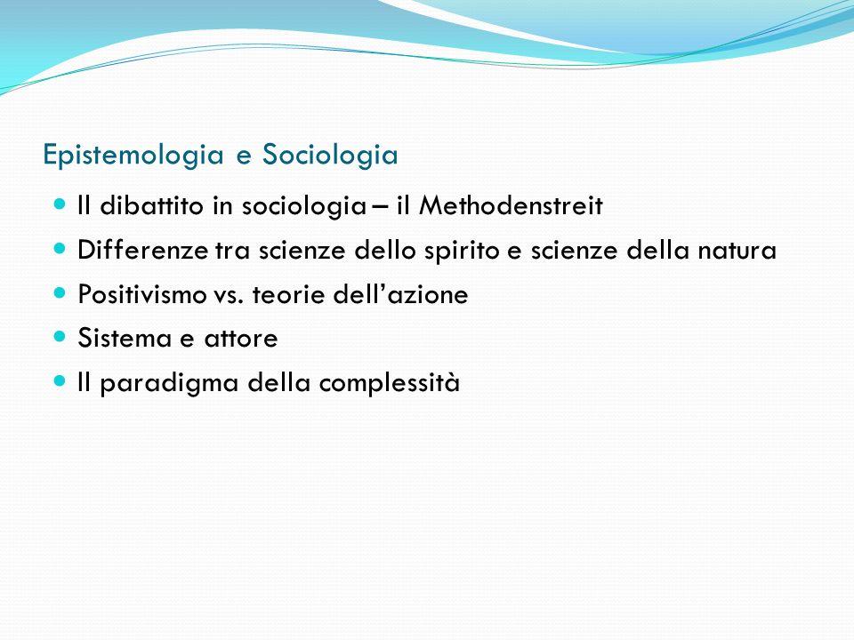 Epistemologia e Sociologia Il dibattito in sociologia – il Methodenstreit Differenze tra scienze dello spirito e scienze della natura Positivismo vs.