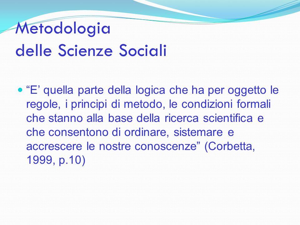 Metodologia delle Scienze Sociali E quella parte della logica che ha per oggetto le regole, i principi di metodo, le condizioni formali che stanno all