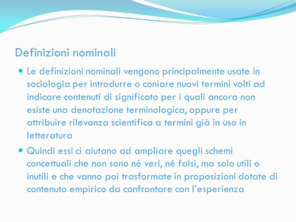 Definizioni nominali Le definizioni nominali vengono principalmente usate in sociologia per introdurre o coniare nuovi termini volti ad indicare conte