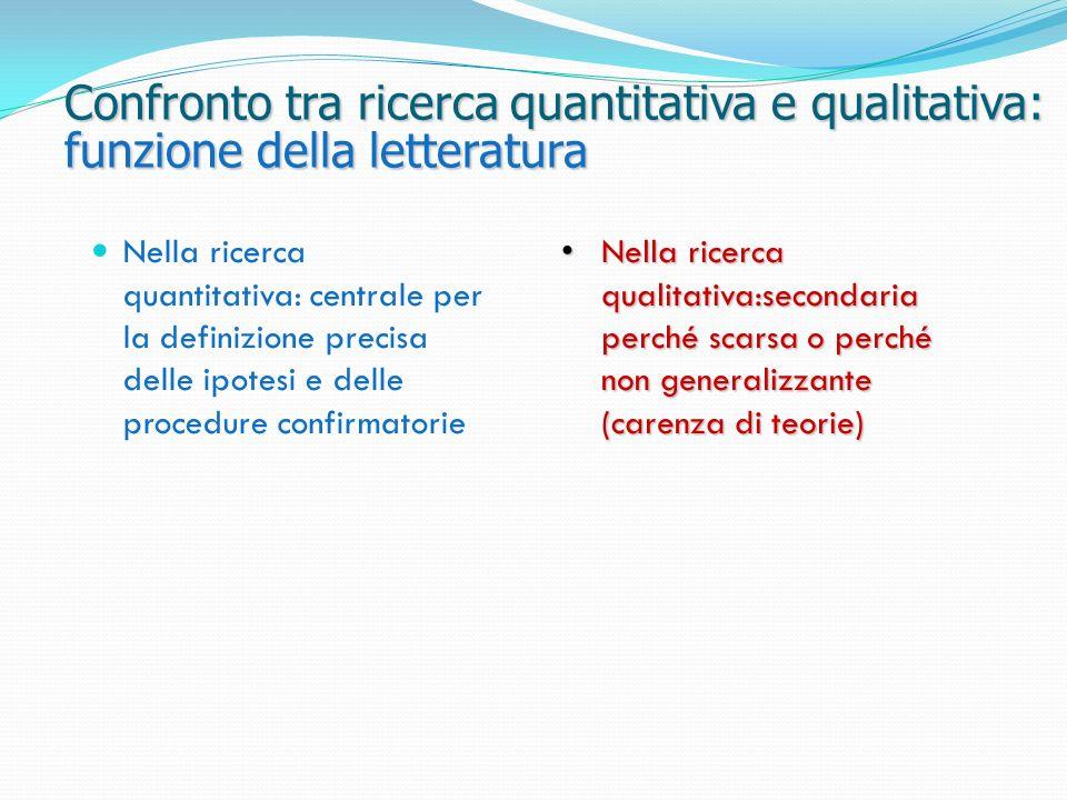 Confronto tra ricerca quantitativa e qualitativa: funzione della letteratura Nella ricerca qualitativa:secondaria perché scarsa o perché non generaliz