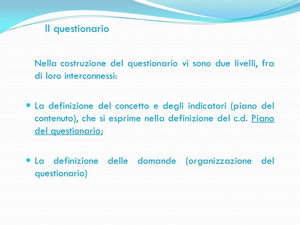 Il questionario Nella costruzione del questionario vi sono due livelli, fra di loro interconnessi: La definizione del concetto e degli indicatori (pia