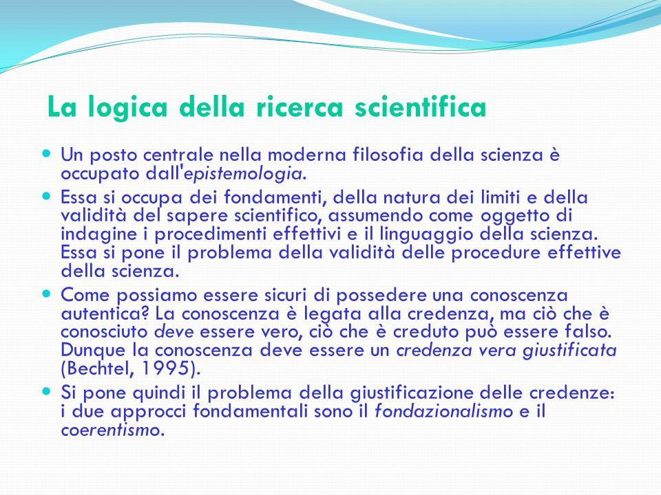 La logica della ricerca scientifica Secondo l approccio fondazionalista la base per la maggior parte degli asserti conoscitivi è un insieme di asserti fondativi, da cui vengono derivate altre conoscenze.