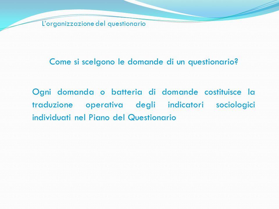 Lorganizzazione del questionario Come si scelgono le domande di un questionario? Ogni domanda o batteria di domande costituisce la traduzione operativ