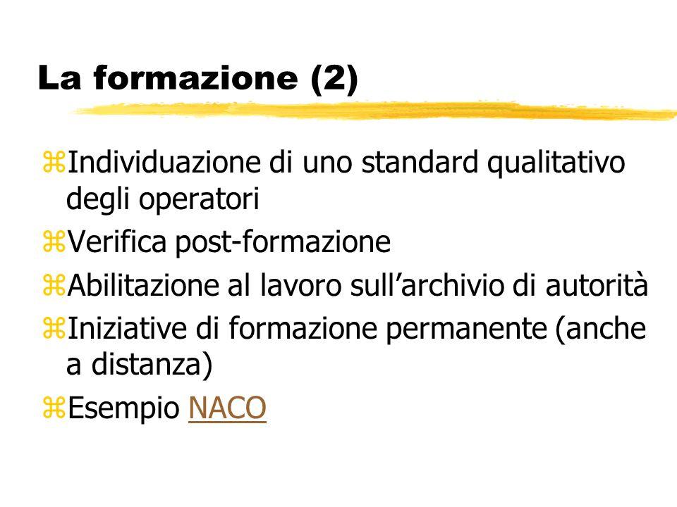 La formazione (2) zIndividuazione di uno standard qualitativo degli operatori zVerifica post-formazione zAbilitazione al lavoro sullarchivio di autorità zIniziative di formazione permanente (anche a distanza) zEsempio NACONACO