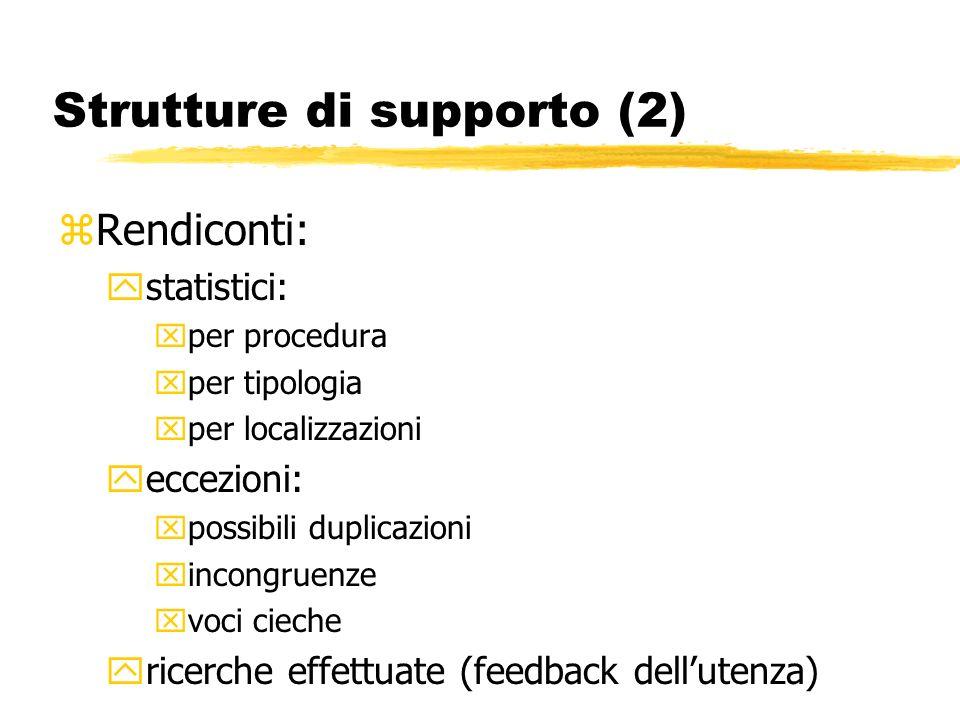 Strutture di supporto (2) zRendiconti: ystatistici: xper procedura xper tipologia xper localizzazioni yeccezioni: xpossibili duplicazioni xincongruenze xvoci cieche yricerche effettuate (feedback dellutenza)