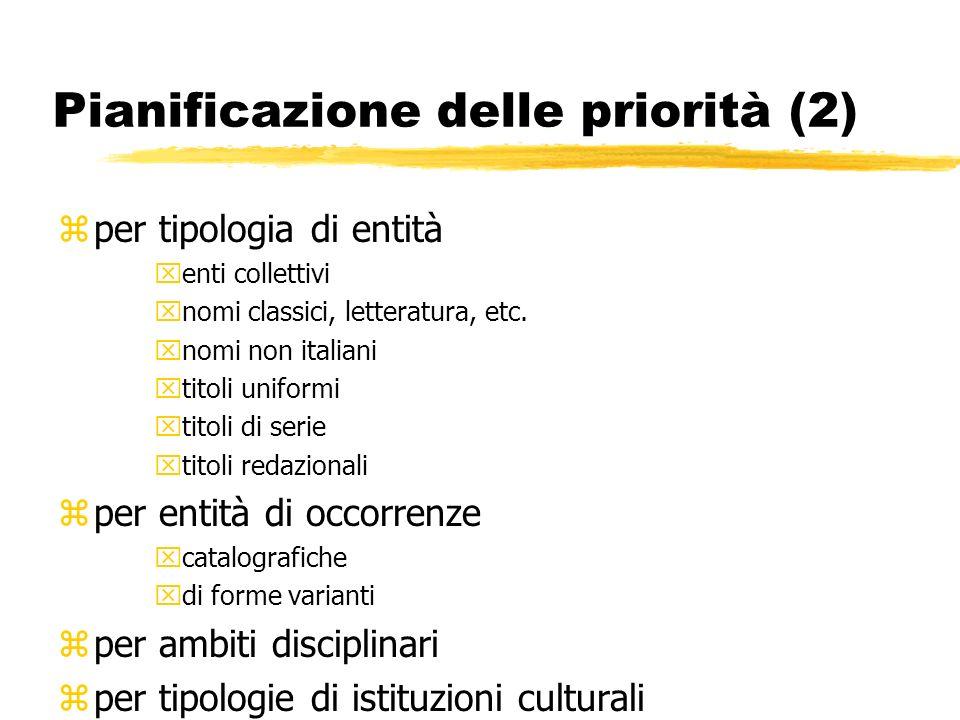Pianificazione delle priorità (2) zper tipologia di entità xenti collettivi xnomi classici, letteratura, etc.