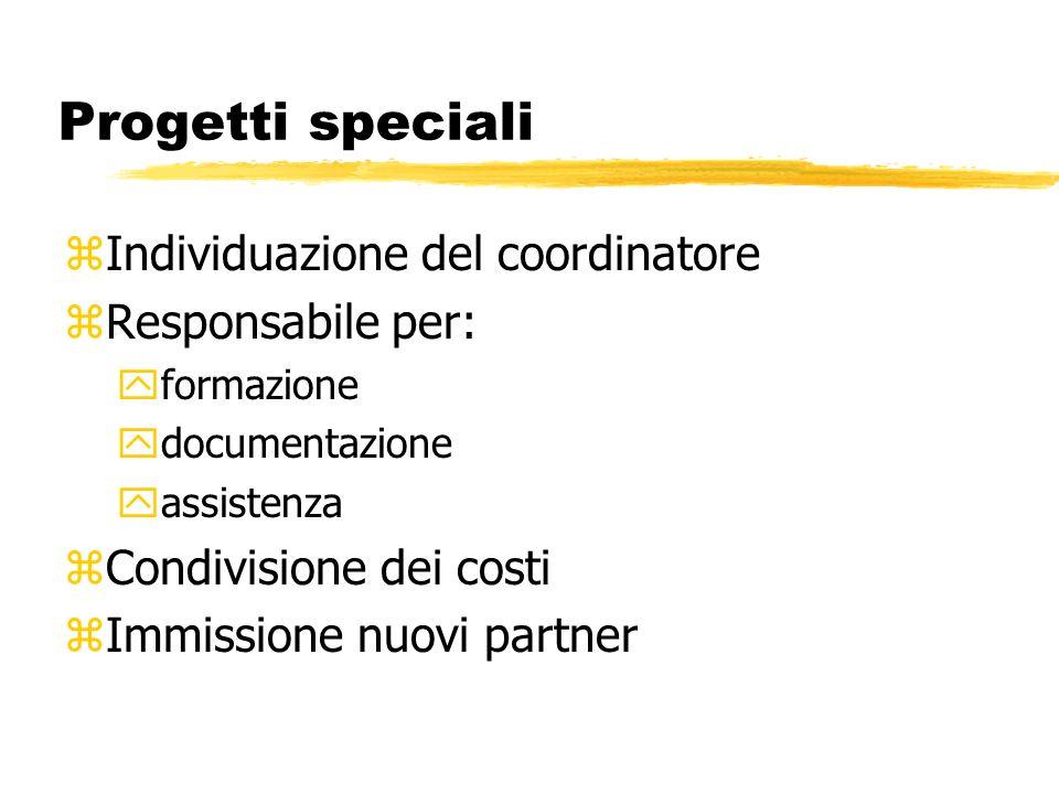 Progetti speciali zIndividuazione del coordinatore zResponsabile per: yformazione ydocumentazione yassistenza zCondivisione dei costi zImmissione nuovi partner