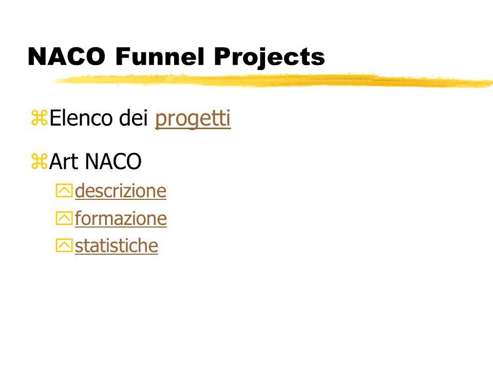 NACO Funnel Projects zElenco dei progettiprogetti zArt NACO ydescrizionedescrizione yformazioneformazione ystatistichestatistiche