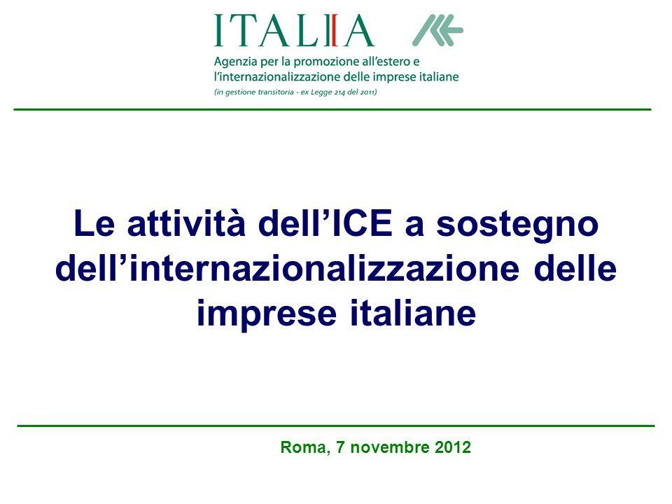 Le attività dellICE a sostegno dellinternazionalizzazione delle imprese italiane Roma, 7 novembre 2012