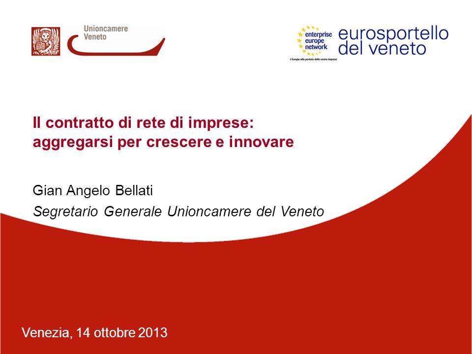 Venezia, 14 ottobre 2013 Gian Angelo Bellati Segretario Generale Unioncamere del Veneto Il contratto di rete di imprese: aggregarsi per crescere e inn