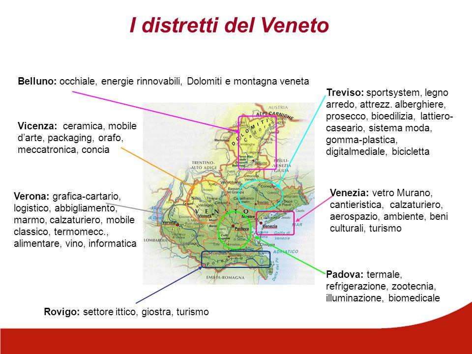 I distretti del Veneto Belluno: occhiale, energie rinnovabili, Dolomiti e montagna veneta Treviso: sportsystem, legno arredo, attrezz. alberghiere, pr