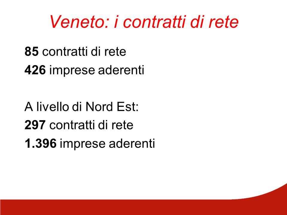 Veneto: i contratti di rete 85 contratti di rete 426 imprese aderenti A livello di Nord Est: 297 contratti di rete 1.396 imprese aderenti
