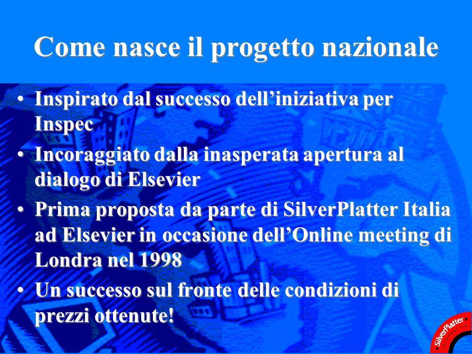 Come nasce il progetto nazionale Inspirato dal successo delliniziativa per InspecInspirato dal successo delliniziativa per Inspec Incoraggiato dalla inasperata apertura al dialogo di ElsevierIncoraggiato dalla inasperata apertura al dialogo di Elsevier Prima proposta da parte di SilverPlatter Italia ad Elsevier in occasione dellOnline meeting di Londra nel 1998Prima proposta da parte di SilverPlatter Italia ad Elsevier in occasione dellOnline meeting di Londra nel 1998 Un successo sul fronte delle condizioni di prezzi ottenute!Un successo sul fronte delle condizioni di prezzi ottenute!