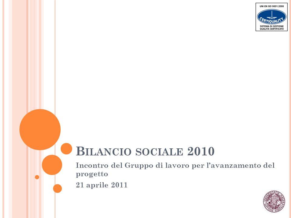 B ILANCIO SOCIALE 2010 Incontro del Gruppo di lavoro per lavanzamento del progetto 21 aprile 2011