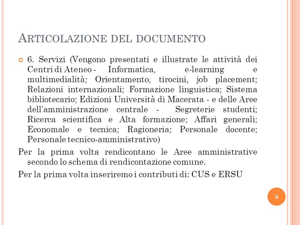 A RTICOLAZIONE DEL DOCUMENTO 6.