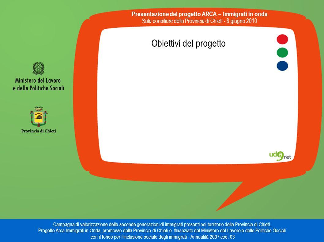 Obiettivi del progetto Presentazione del progetto ARCA – Immigrati in onda Sala consiliare della Provincia di Chieti - 8 giugno 2010 Campagna di valorizzazione delle seconde generazioni di immigrati presenti nel territorio della Provincia di Chieti.