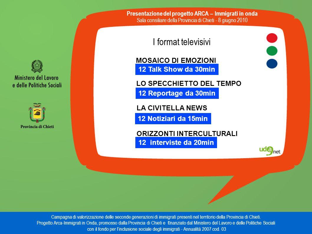 I format televisivi Presentazione del progetto ARCA – Immigrati in onda Sala consiliare della Provincia di Chieti - 8 giugno 2010 Campagna di valorizzazione delle seconde generazioni di immigrati presenti nel territorio della Provincia di Chieti.