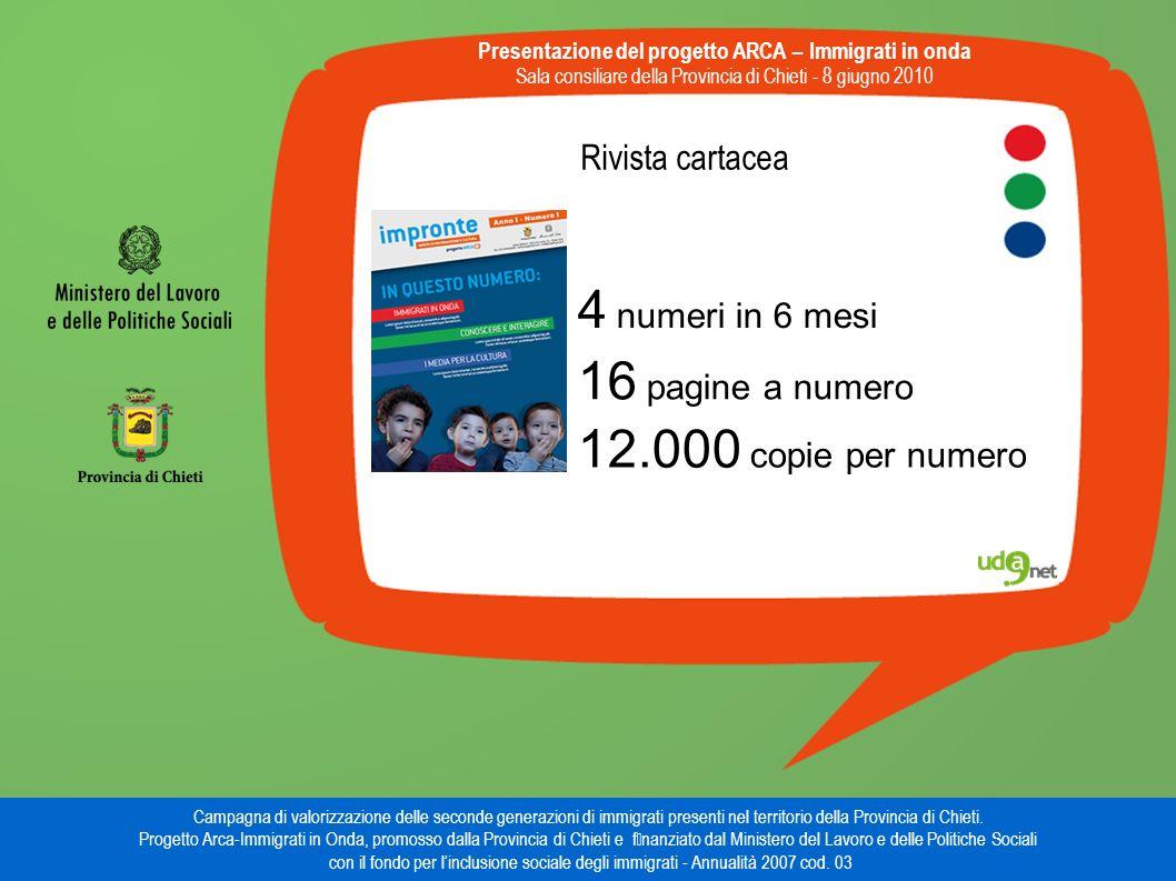 Rivista cartacea Presentazione del progetto ARCA – Immigrati in onda Sala consiliare della Provincia di Chieti - 8 giugno 2010 Campagna di valorizzazione delle seconde generazioni di immigrati presenti nel territorio della Provincia di Chieti.