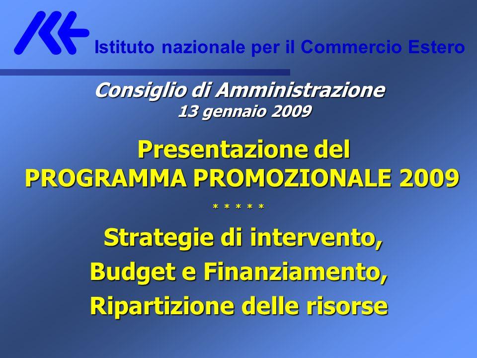 Consiglio di Amministrazione 13 gennaio 2009 Presentazione del PROGRAMMA PROMOZIONALE 2009 PROGRAMMA PROMOZIONALE 2009 * * * * * Strategie di intervento, Budget e Finanziamento, Ripartizione delle risorse Istituto nazionale per il Commercio Estero