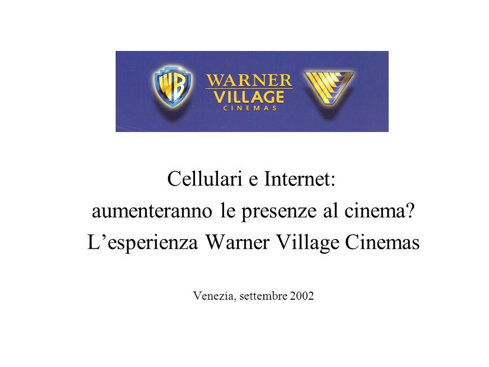 Cellulari e Internet: aumenteranno le presenze al cinema? Lesperienza Warner Village Cinemas Venezia, settembre 2002