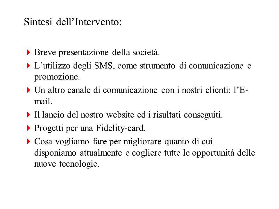Sintesi dellIntervento: Breve presentazione della società. Lutilizzo degli SMS, come strumento di comunicazione e promozione. Un altro canale di comun