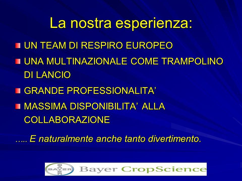 La nostra esperienza: UN TEAM DI RESPIRO EUROPEO UNA MULTINAZIONALE COME TRAMPOLINO DI LANCIO GRANDE PROFESSIONALITA MASSIMA DISPONIBILITA ALLA COLLAB
