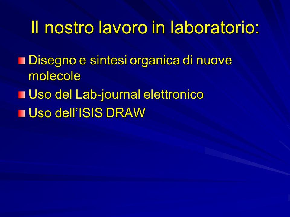 Il nostro lavoro in laboratorio: Disegno e sintesi organica di nuove molecole Uso del Lab-journal elettronico Uso dellISIS DRAW