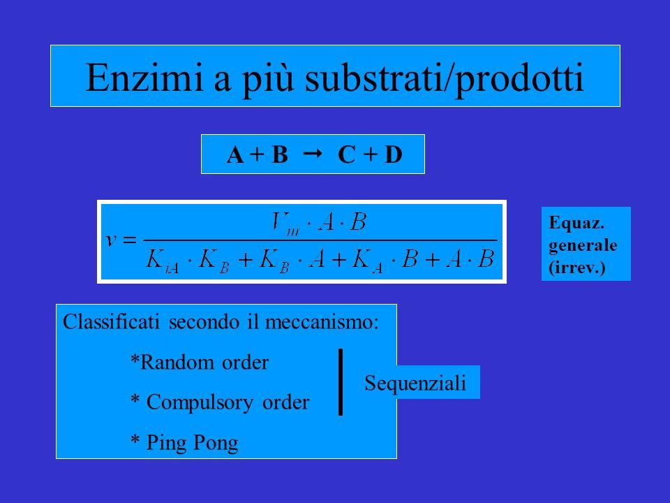 Enzimi a più substrati/prodotti A + B C + D Classificati secondo il meccanismo: *Random order * Compulsory order * Ping Pong Sequenziali Equaz.