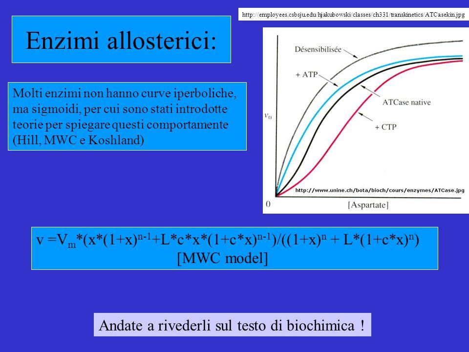 Enzimi allosterici: Molti enzimi non hanno curve iperboliche, ma sigmoidi, per cui sono stati introdotte teorie per spiegare questi comportamente (Hill, MWC e Koshland) v =V m *(x*(1+x) n-1 +L*c*x*(1+c*x) n-1 )/((1+x) n + L*(1+c*x) n ) [MWC model] Andate a rivederli sul testo di biochimica .