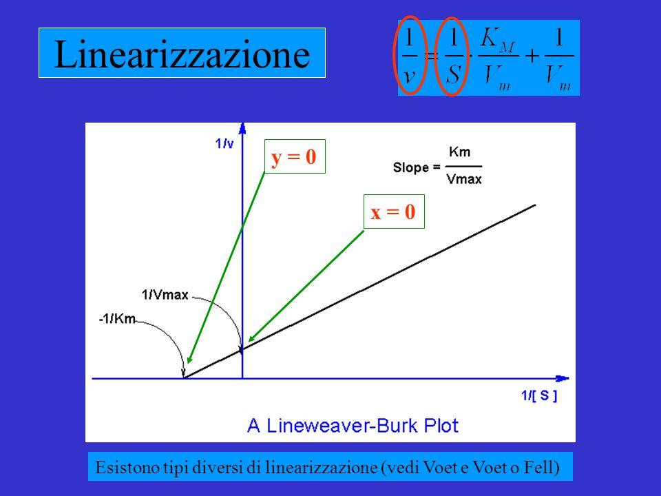 Linearizzazione y = 0x = 0 Esistono tipi diversi di linearizzazione (vedi Voet e Voet o Fell)