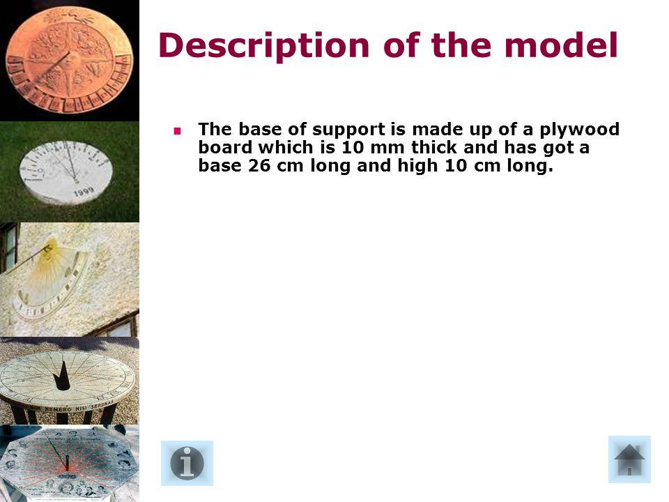 La base di appoggio è costituita da una tavola di compensato o truciolato spessa da 8 a 10 mm di forma pentagonale e avente le seguenti dimensioni: base 26 cm, altezza 10 cm, lunga 36 cm.