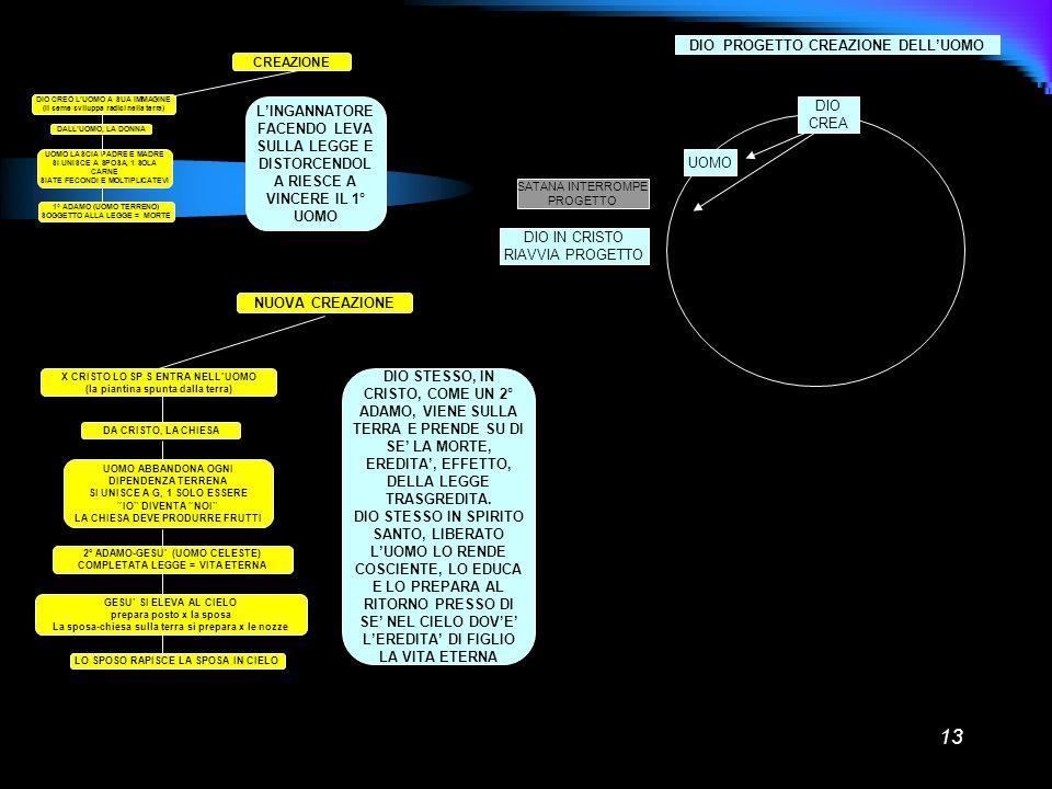 13 CREAZIONE DIO CREÒ LUOMO A SUA IMMAGINE (Il seme sviluppa radici nella terra) DALLUOMO, LA DONNA UOMO LASCIA PADRE E MADRE SI UNISCE A SPOSA, 1 SOL