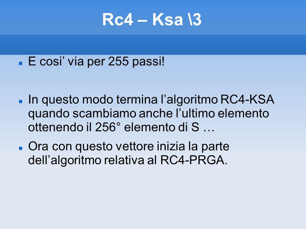 Rc4 – Ksa \3 E cosi via per 255 passi! In questo modo termina lalgoritmo RC4-KSA quando scambiamo anche lultimo elemento ottenendo il 256° elemento di