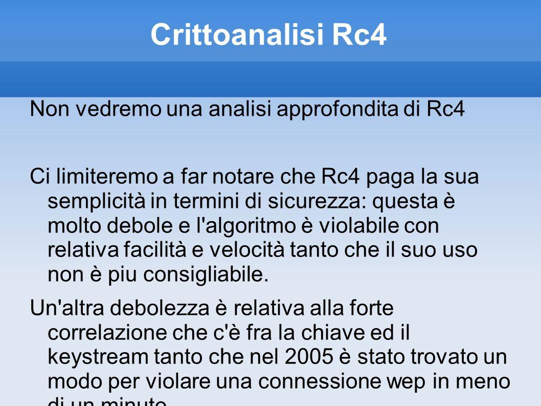 Crittoanalisi Rc4 Non vedremo una analisi approfondita di Rc4 Ci limiteremo a far notare che Rc4 paga la sua semplicità in termini di sicurezza: quest