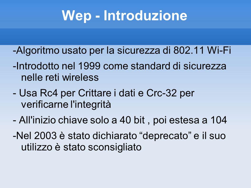 Wep - Introduzione -Algoritmo usato per la sicurezza di 802.11 Wi-Fi -Introdotto nel 1999 come standard di sicurezza nelle reti wireless - Usa Rc4 per