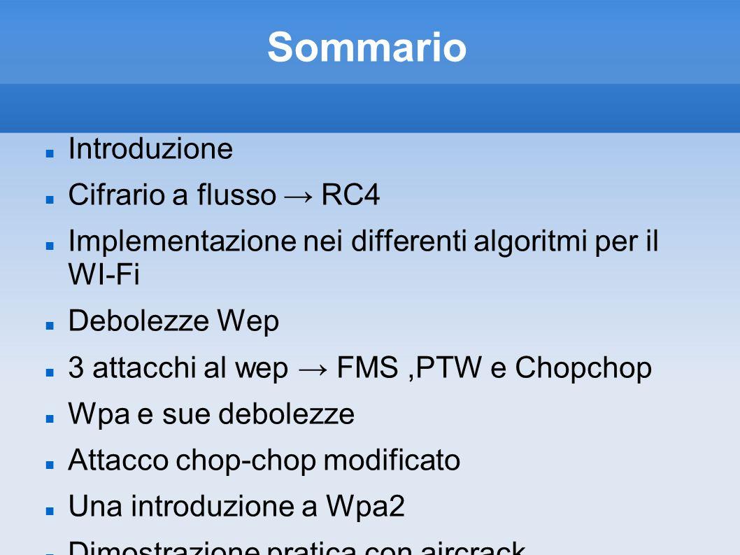 Sommario Introduzione Cifrario a flusso RC4 Implementazione nei differenti algoritmi per il WI-Fi Debolezze Wep 3 attacchi al wep FMS,PTW e Chopchop W
