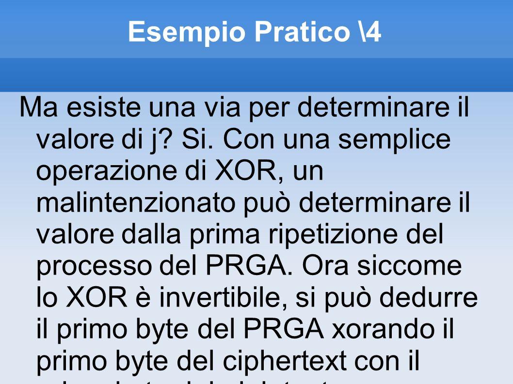 Esempio Pratico \4 Ma esiste una via per determinare il valore di j? Si. Con una semplice operazione di XOR, un malintenzionato può determinare il val