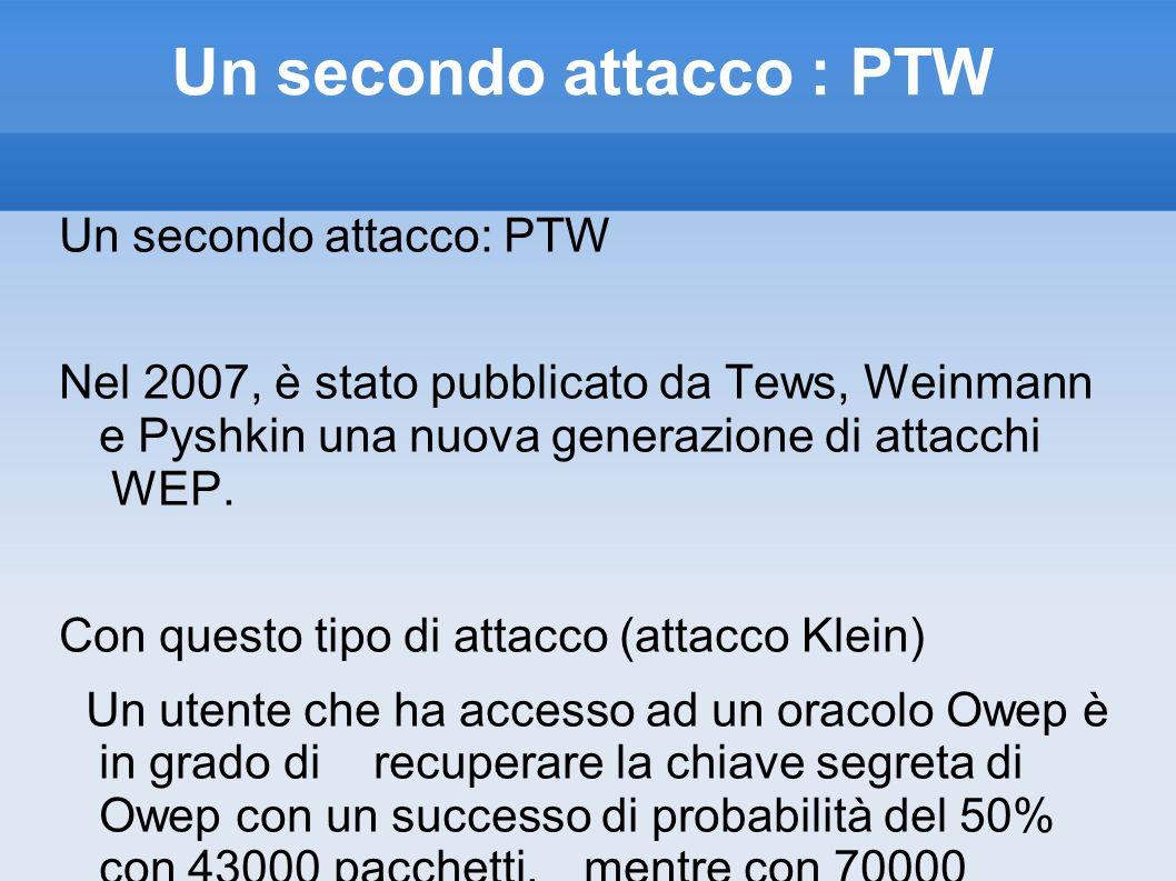 Un secondo attacco : PTW Nel 2007, è stato pubblicato da Tews, Weinmann e Pyshkin una nuova generazione di attacchi WEP. Con questo tipo di attacco (a