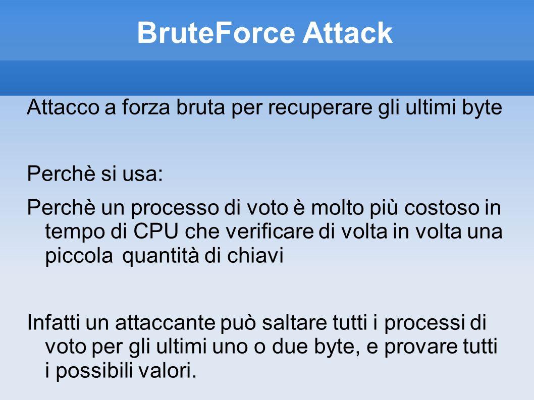 BruteForce Attack Attacco a forza bruta per recuperare gli ultimi byte Perchè si usa: Perchè un processo di voto è molto più costoso in tempo di CPU c