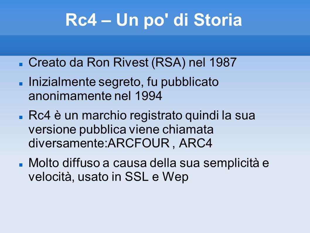 Rc4 – Un po' di Storia Creato da Ron Rivest (RSA) nel 1987 Inizialmente segreto, fu pubblicato anonimamente nel 1994 Rc4 è un marchio registrato quind