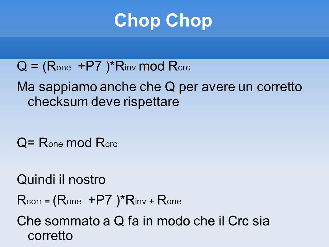 Chop Q = (R one +P7 )*R inv mod R crc Ma sappiamo anche che Q per avere un corretto checksum deve rispettare Q= R one mod R crc Quindi il nostro R cor