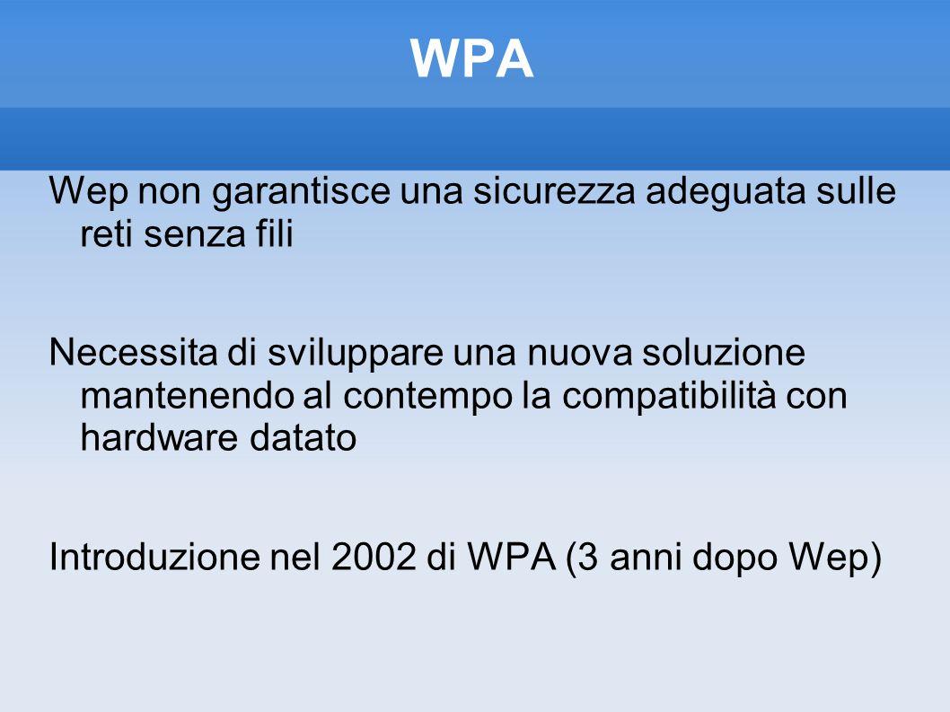 WPA Wep non garantisce una sicurezza adeguata sulle reti senza fili Necessita di sviluppare una nuova soluzione mantenendo al contempo la compatibilit