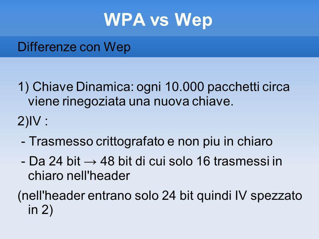 WPA vs Wep Differenze con Wep 1) Chiave Dinamica: ogni 10.000 pacchetti circa viene rinegoziata una nuova chiave. 2)IV : - Trasmesso crittografato e n