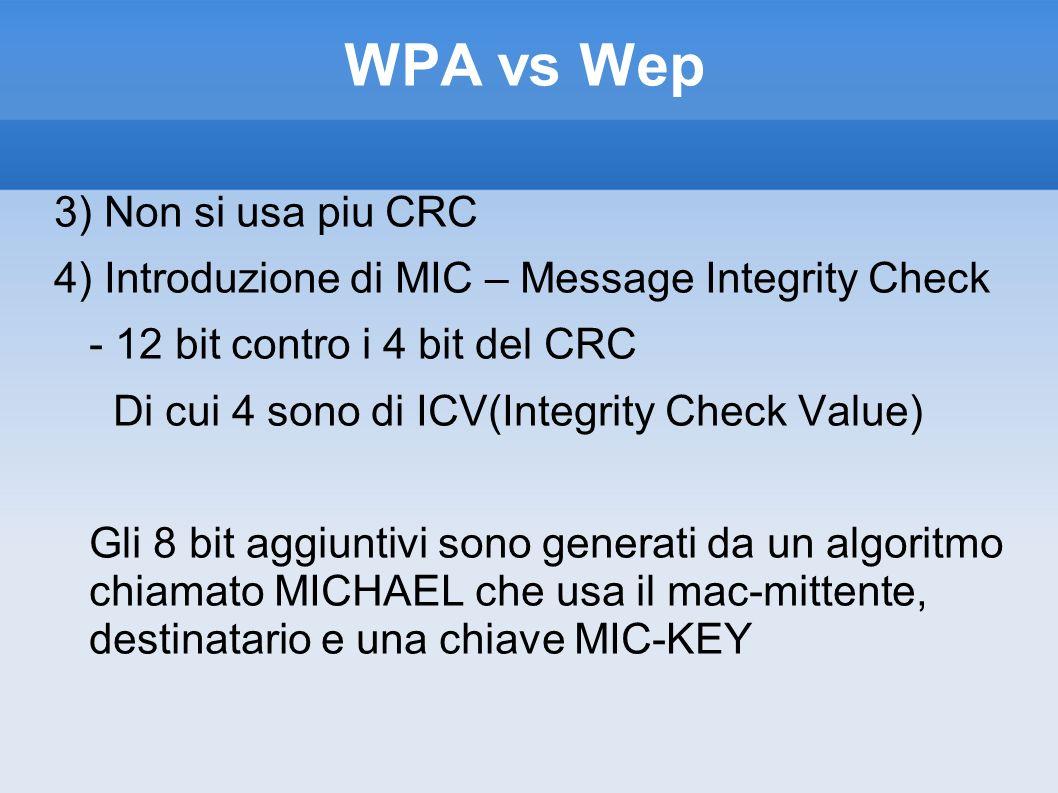 WPA vs Wep 3) Non si usa piu CRC 4) Introduzione di MIC – Message Integrity Check - 12 bit contro i 4 bit del CRC Di cui 4 sono di ICV(Integrity Check