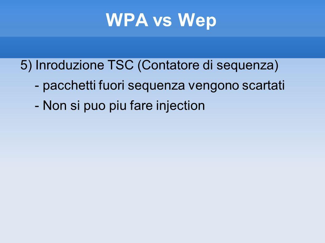 WPA vs Wep 5) Inroduzione TSC (Contatore di sequenza) - pacchetti fuori sequenza vengono scartati - Non si puo piu fare injection