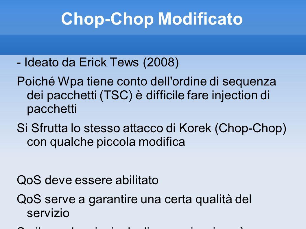 Chop-Chop Modificato - Ideato da Erick Tews (2008) Poiché Wpa tiene conto dell'ordine di sequenza dei pacchetti (TSC) è difficile fare injection di pa
